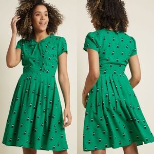 Modcloth Eploratory Style A Line Cat Dress NEW